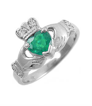 14 carat white gold 0.55cts emerald/0.06cts diamonds claddagh engagement ring
