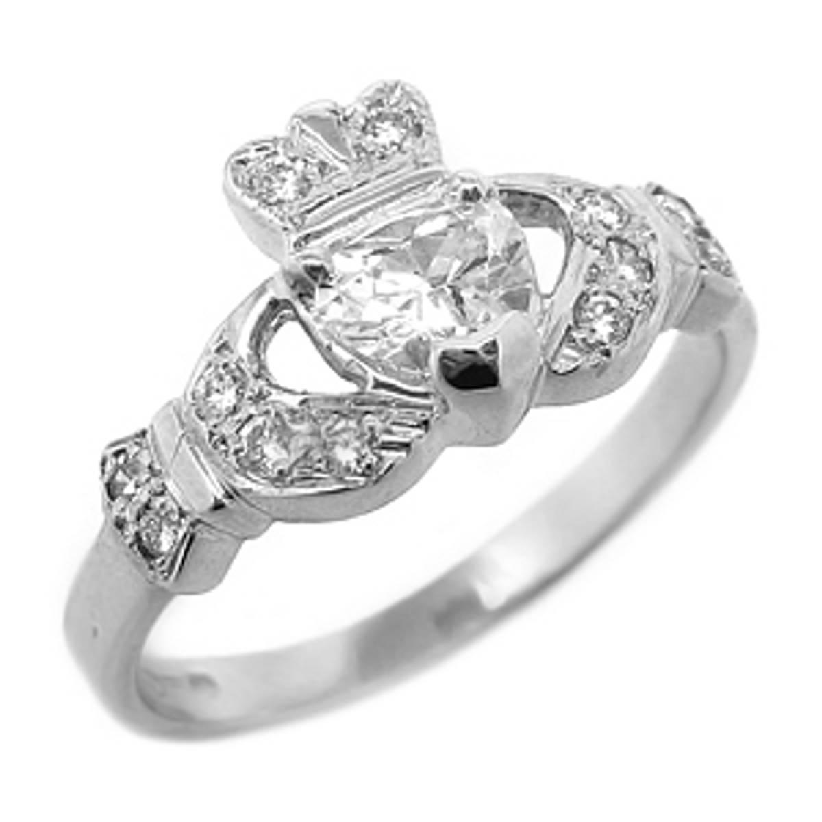 Irish made14 carat white gold 0.45cts/0.12cts diamonds claddagh engagement ring