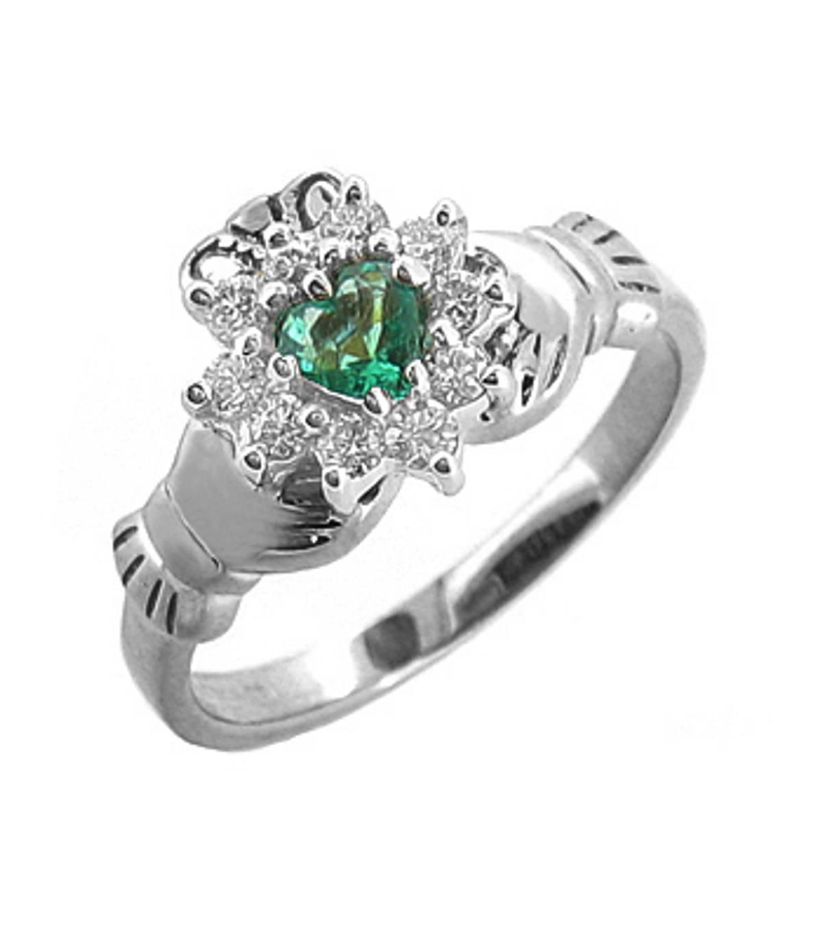 Irish made14 carat white gold 0.25cts emerald/0.26cts diamonds claddagh engagement ring
