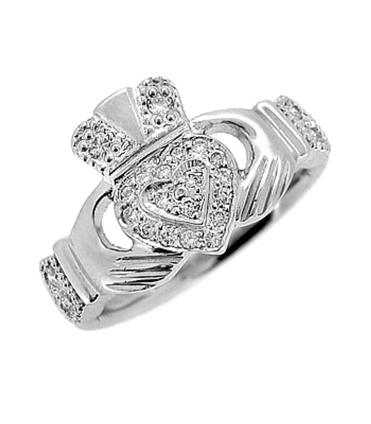 Irish made14 carat white gold 0.14cts diamonds claddagh engagement ring