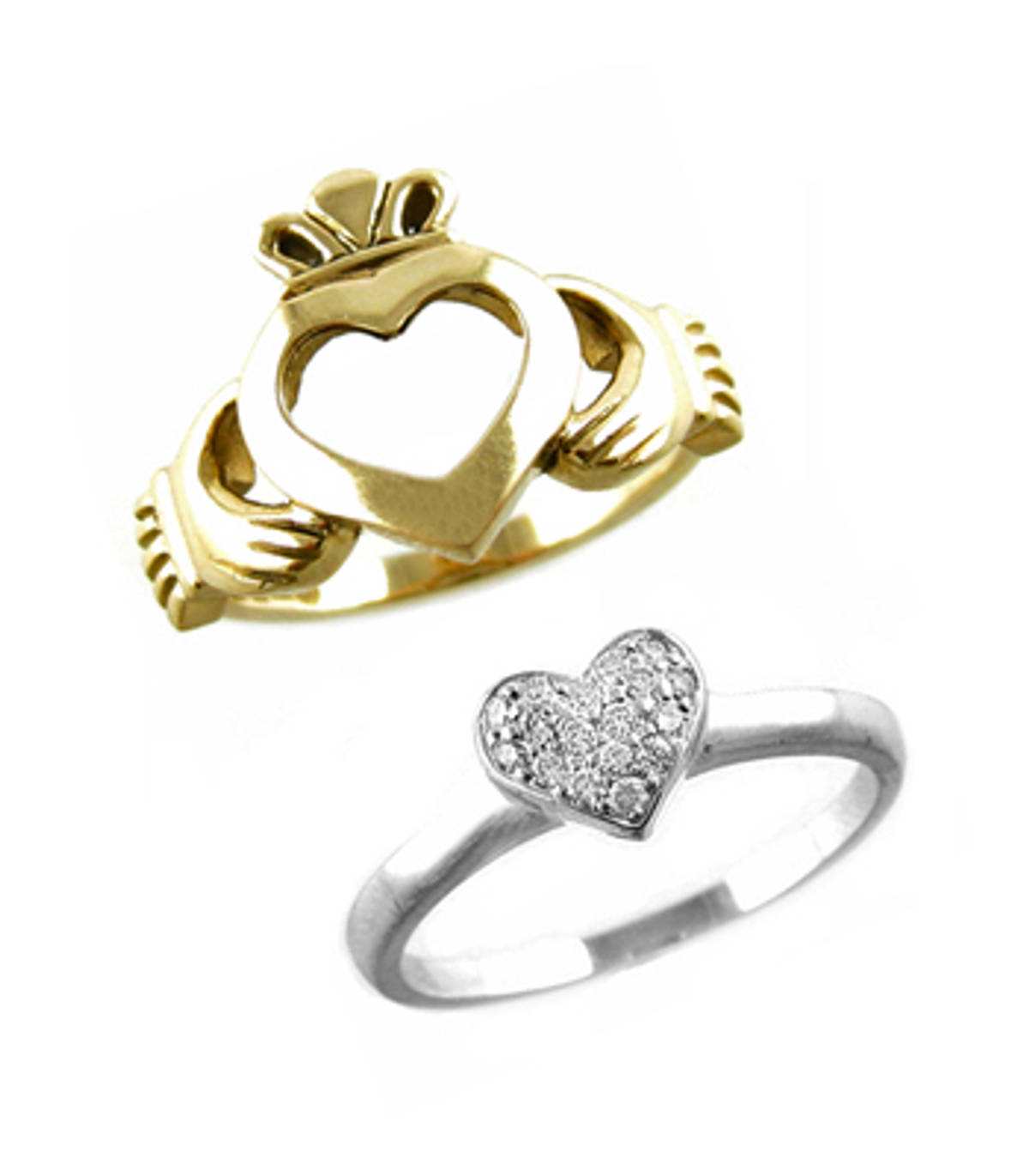 Irish made;14 carat white/yellow gold 0.20cts diamonds claddagh engagement ring(s) in 2 parts