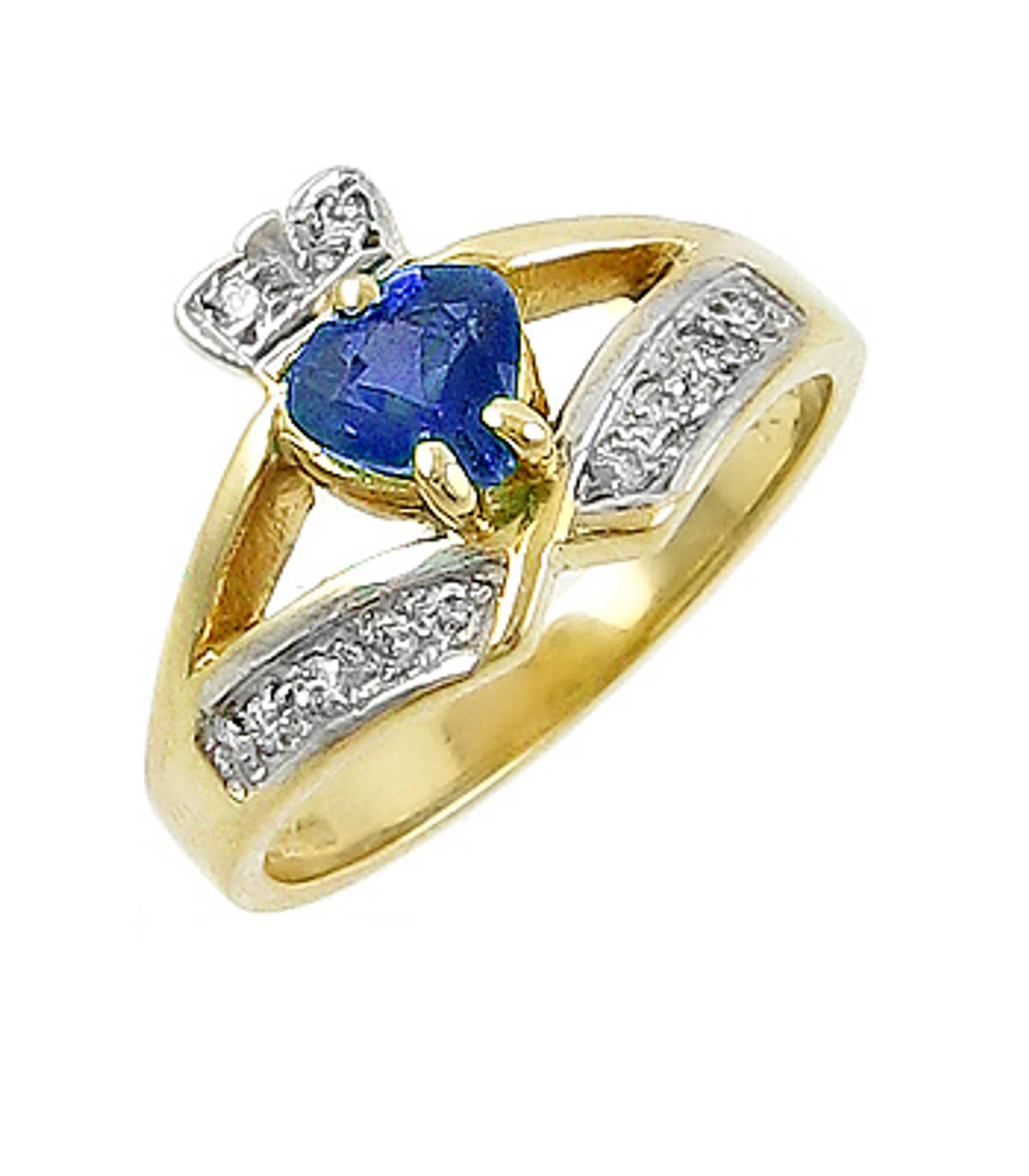Irish made 14 carat yellow gold 0.55cts sapphire/0.12cts diamonds claddagh engagement ring