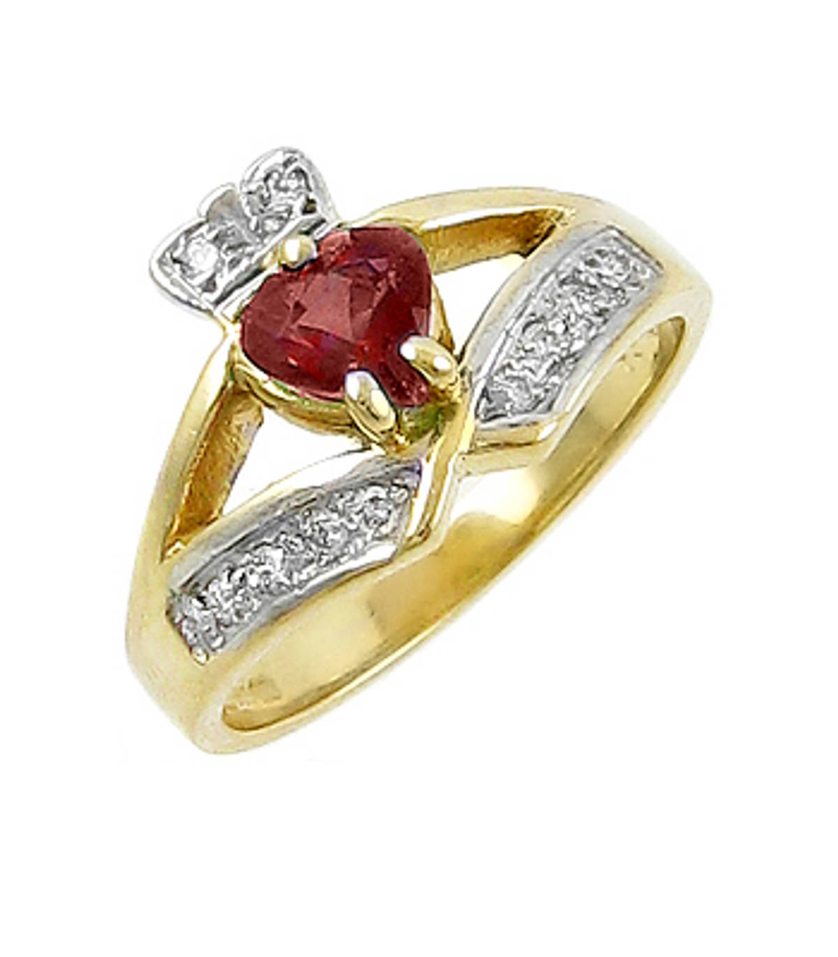 Irish made14 carat yellow gold 0.55cts garnet/0.12cts diamonds claddagh engagement ring