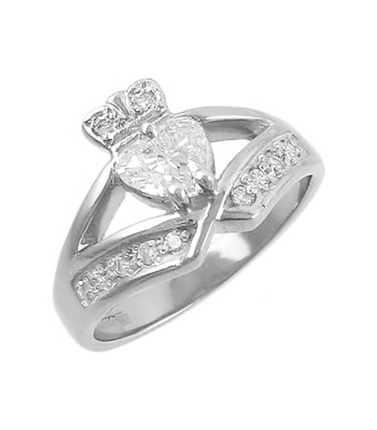 Irish made 14 carat white gold 0.45cts/0.12cts diamonds claddagh engagement ring
