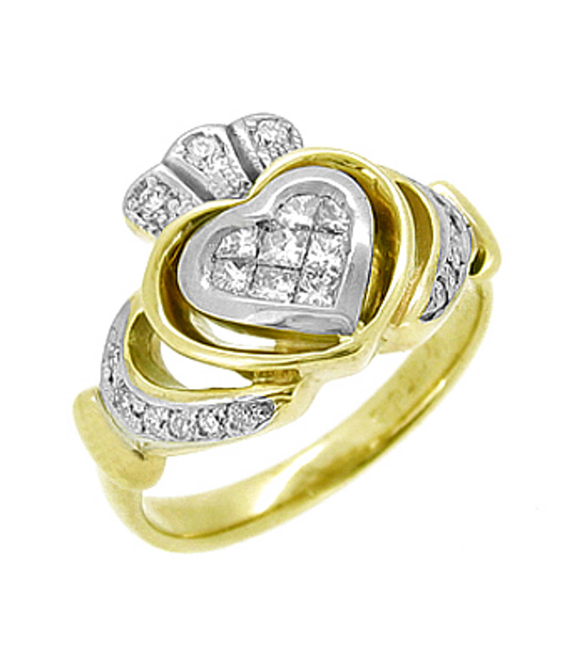 Irish made14 carat yellow gold 0.39cts diamonds in pave setting claddagh engagement ring