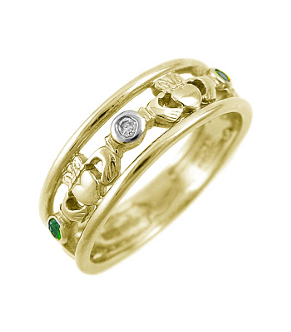 Irish made14 carat yellow gold 0.10cts emerald/0.02cts diamonds claddagh engagement ring