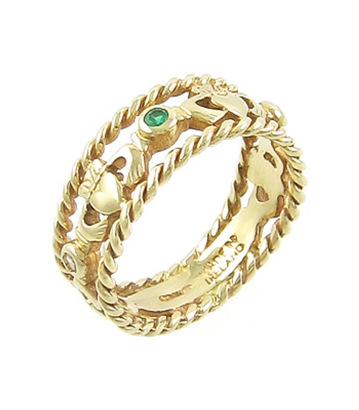 Irish made14 carat yellow gold 0.05cts emerald/0.04cts diamonds claddagh engagement ring