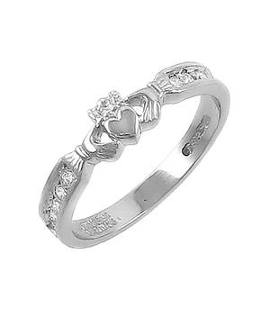 14 carat white gold 0.10cts diamonds claddagh engagement ring