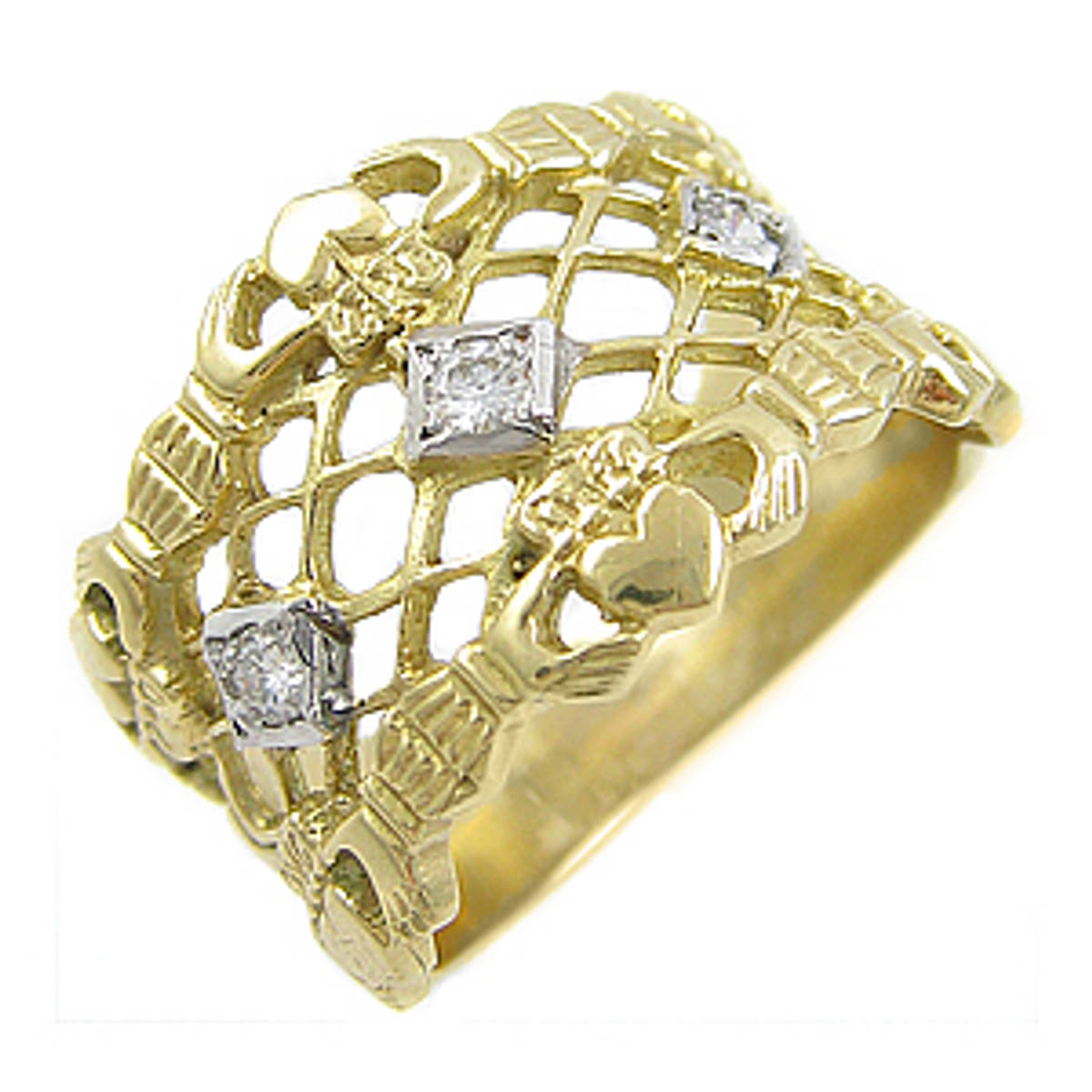 Irish made14 carat yellow gold 0.10cts diamonds claddagh wedding ring