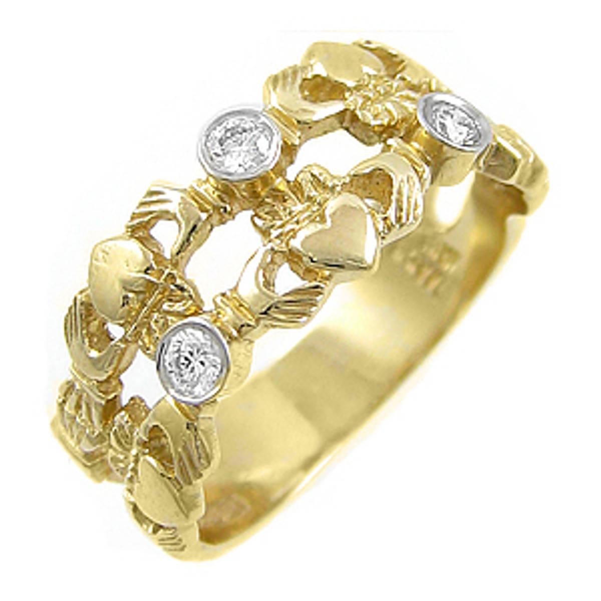 Irish made14 carat yellow gold 0.18cts diamonds claddagh engagement ring