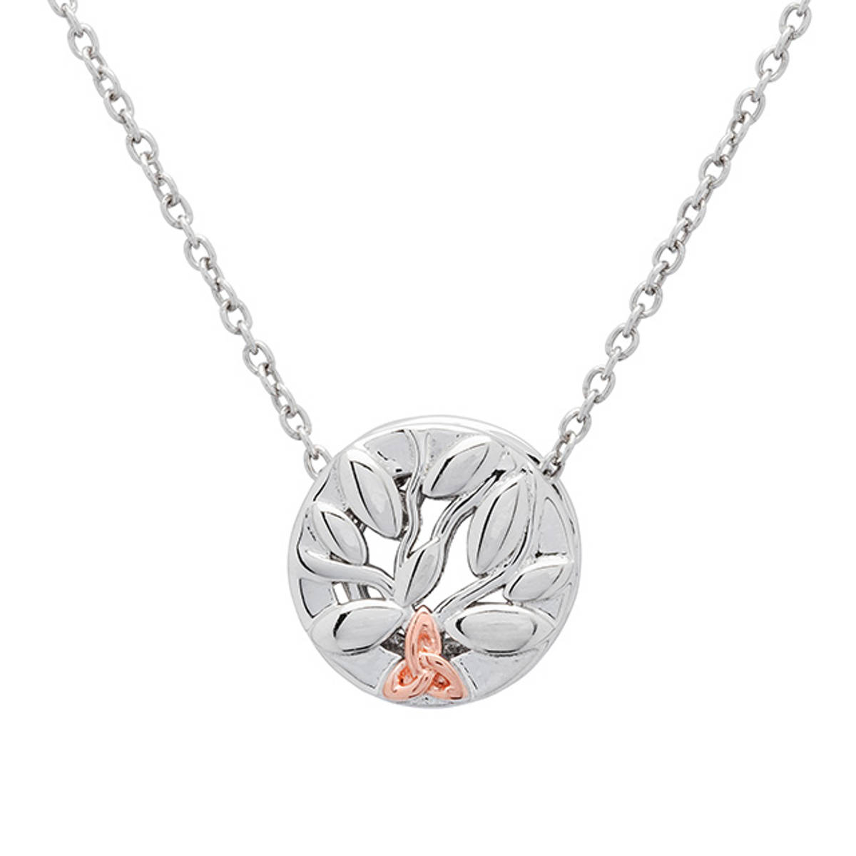 """Silver """"Tree Of Life"""" clip on charm with rose gold Trinity Knot.  Size: 11.7mm"""