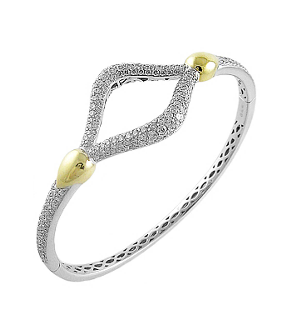 18k yellow/white gold pave set brilliant cut diamond open centre bangle Total diamond weight 2.67cts Made in Ireland