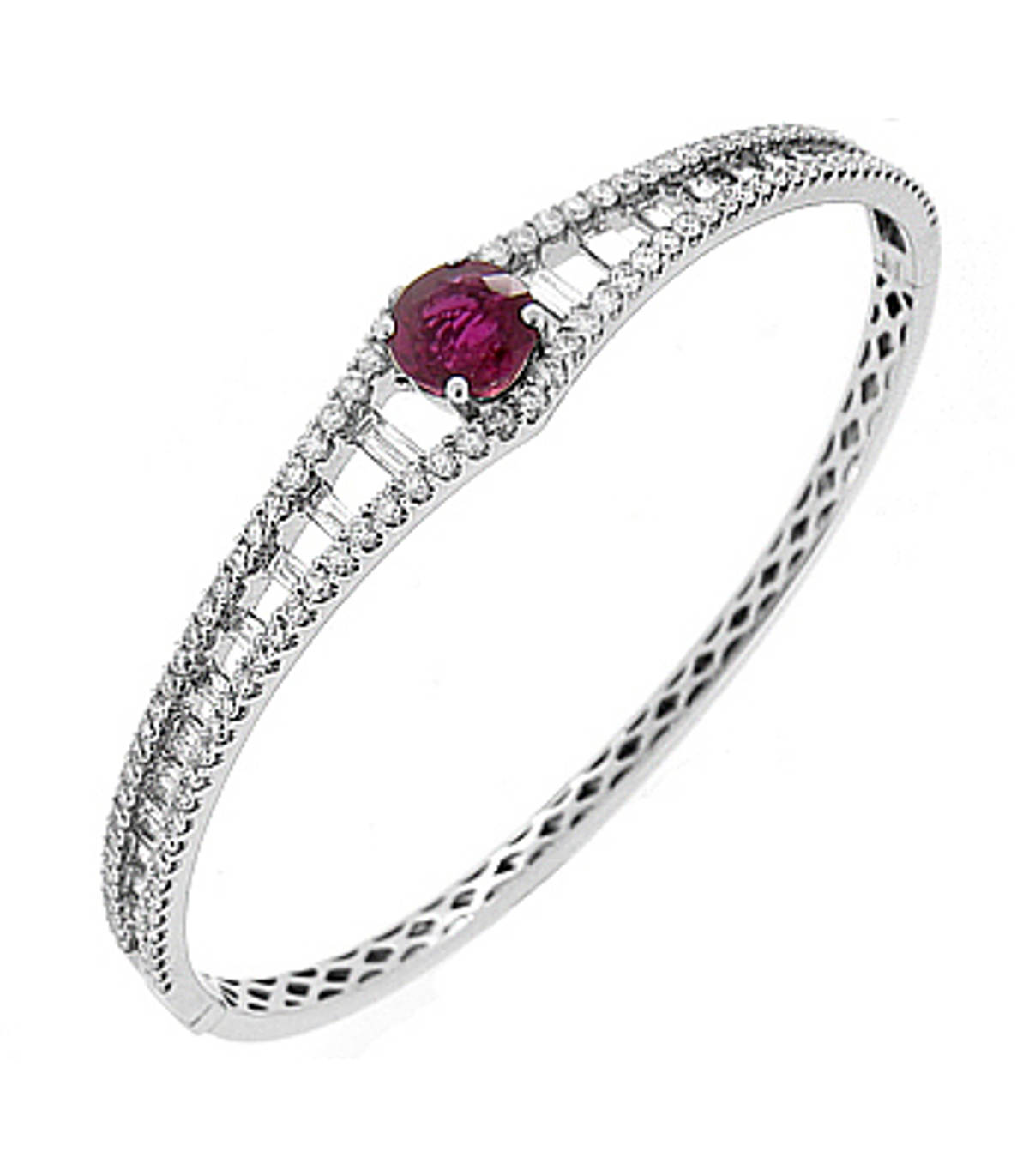 Ruby and diamond bangleAvailable in: 18k white gold, 18k yellow goldPictured item: Ruby 1.00cts/Diamonds 2.20cts set in 18k white gold