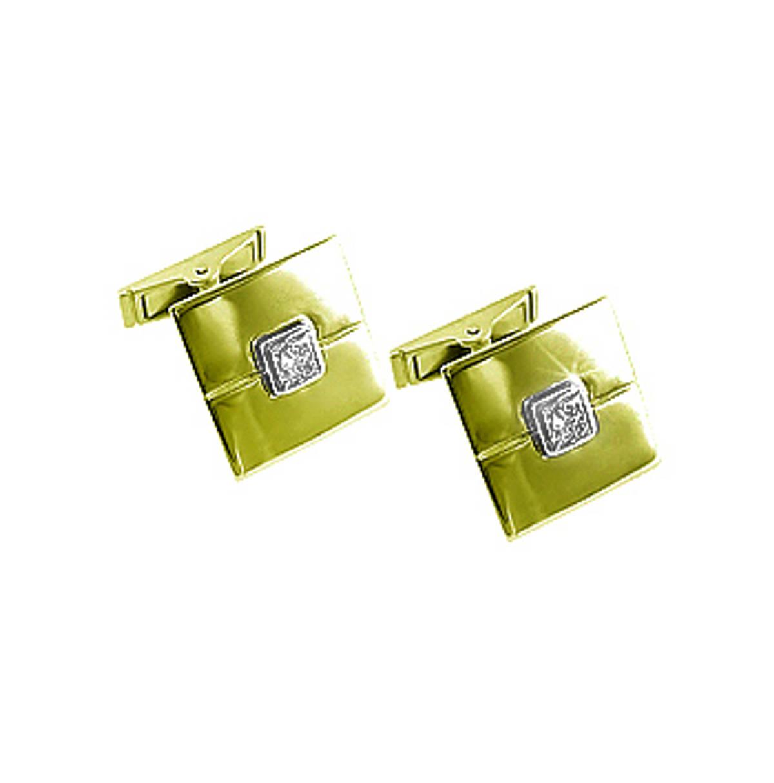 18k yellow gold princess cut diamond square gents cufflinks Total diamonds 0.30cts Made in Ireland
