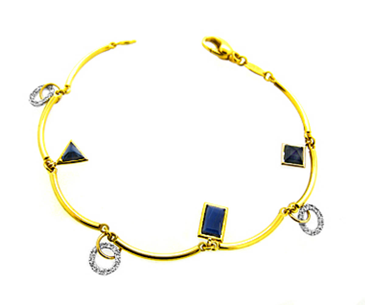 Sapphire and diamond fancy braceletPictured item: sapphire: 2.70ct/diamonds: 0.24ct set in 18k yellow and white gold