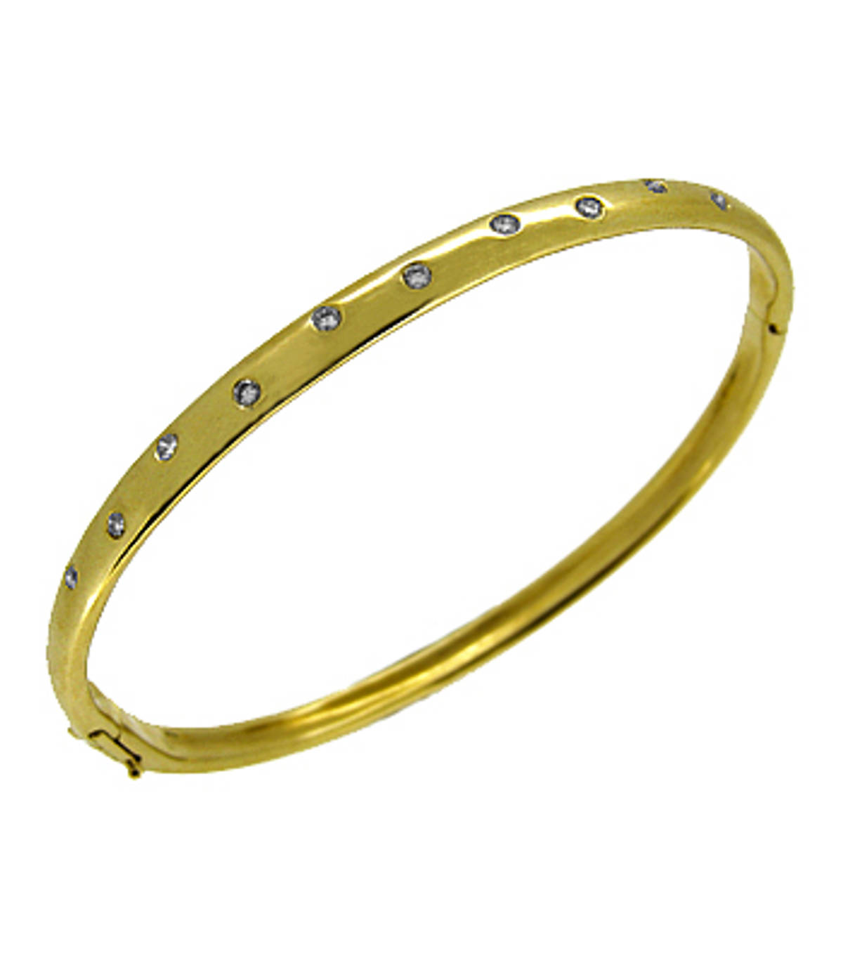 18k yellow gold brilliant cut diamond bangle  Total diamond weight 0.30cts Made in Ireland