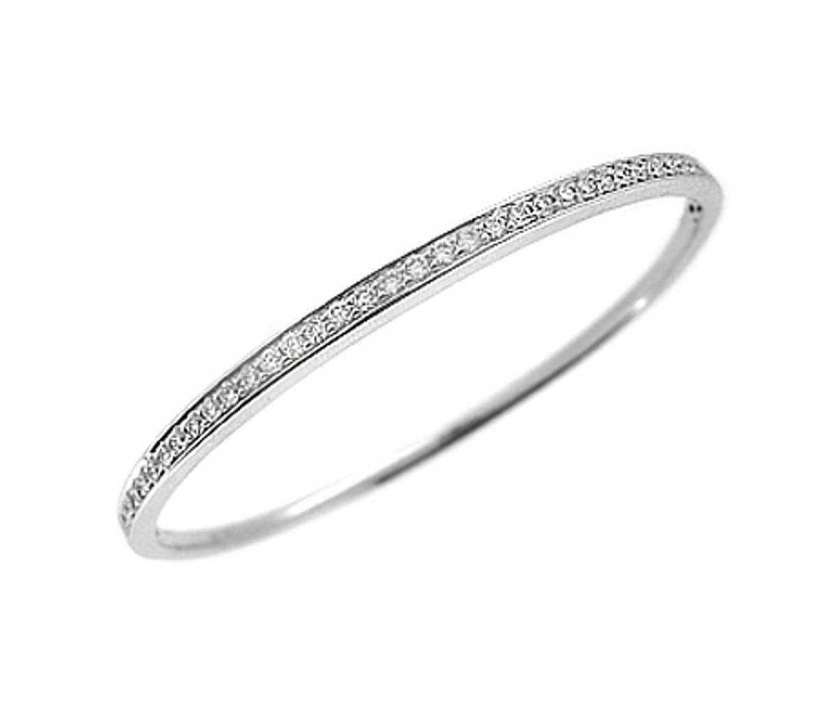18k white brilliant cut diamond milgrain set bangleDETAILS diamond total weight 0.75cts