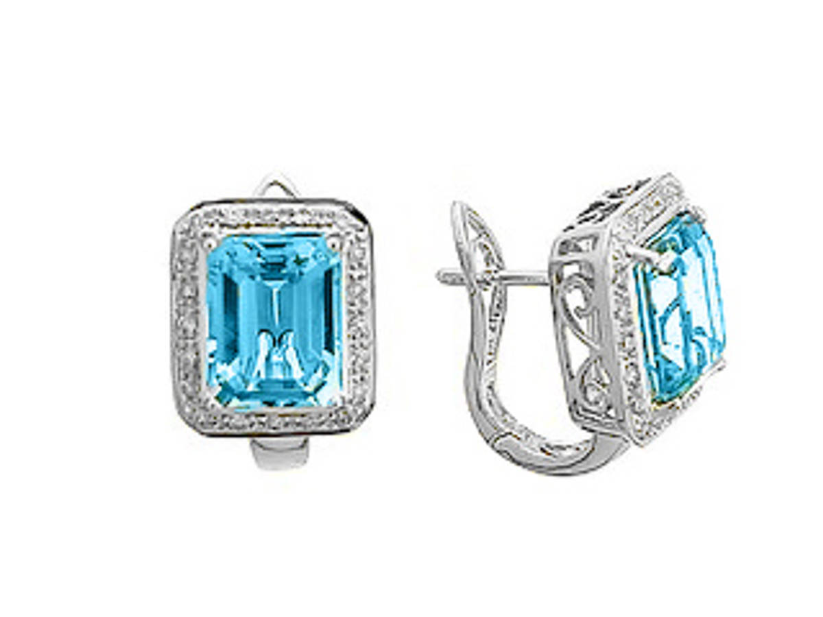 BLUE TOPAZ AND DIAMOND CLUSTER EARRINGSPictured item: 0.22ct diamonds/6.34ct blue topaz set in 18k white gold