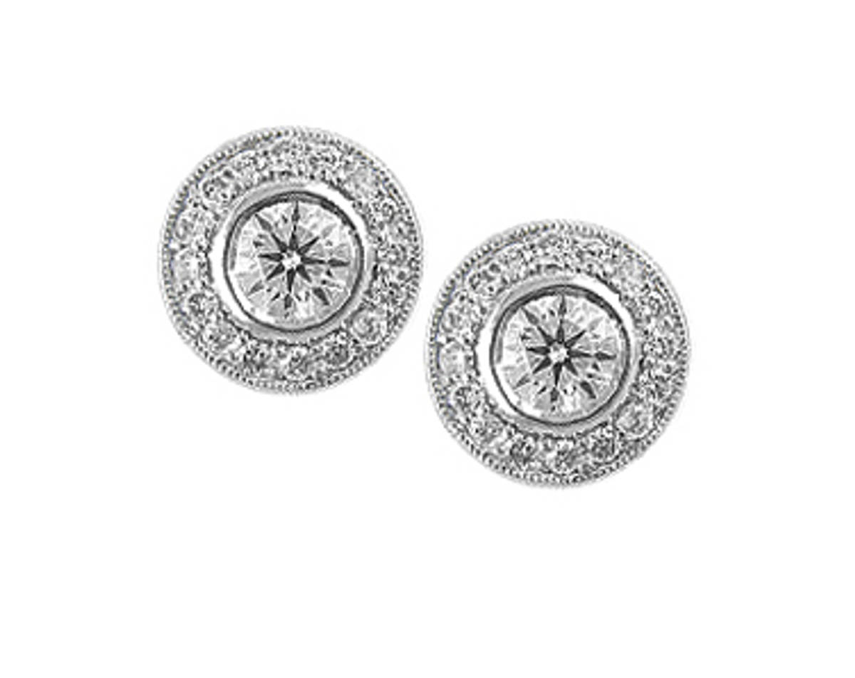 18k white gold brilliant cut diamond rubover set cluster stud earringsDETAILSdiamond total weight 1.03cts FIT & SIZE-This item's measurement are:width  1cmlength  1cm
