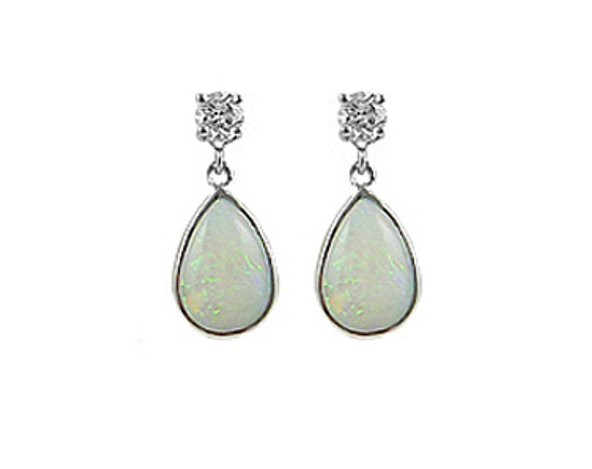 PEARSHAPE OPAL AND ROUND DIAMOND DROP EARRINGSPictured item: 0.35ct diamonds/2.00ct opal set in 18k white gold