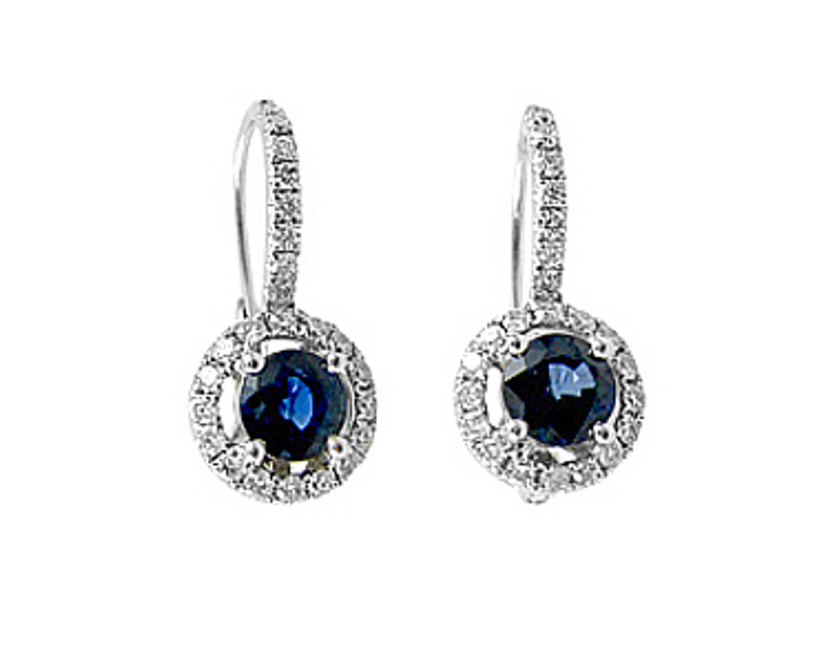 ROUND SAPPHIRE AND DIAMOND CLUSTER HOOP EARRINGSPictured item: sapphire 1.26ct/diamonds 0.46ct set in 18k white gold