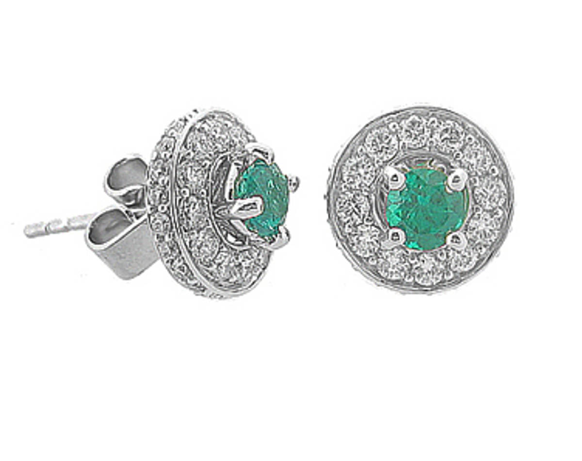 Round emerald and diamond cluster stud earringsPictured item: emerald 0.42ct/diamonds 0.72ct set in 18k white gold
