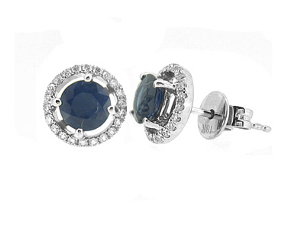 Round sapphire and diamond cluster stud earringsPictured item: sapphire 1.39ct/diamonds 0.21ct set in 18k white gold