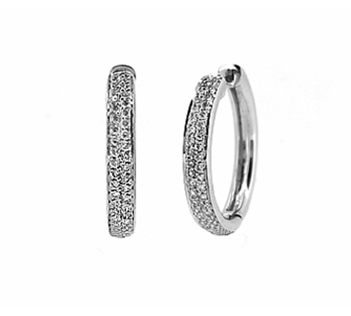 18k white gold brilliant cut diamond hoop earringsDETAILSCarat: total diamond weight 0.31ctsCut: Brilliant cutMetal: 18k white gold Made in Ireland