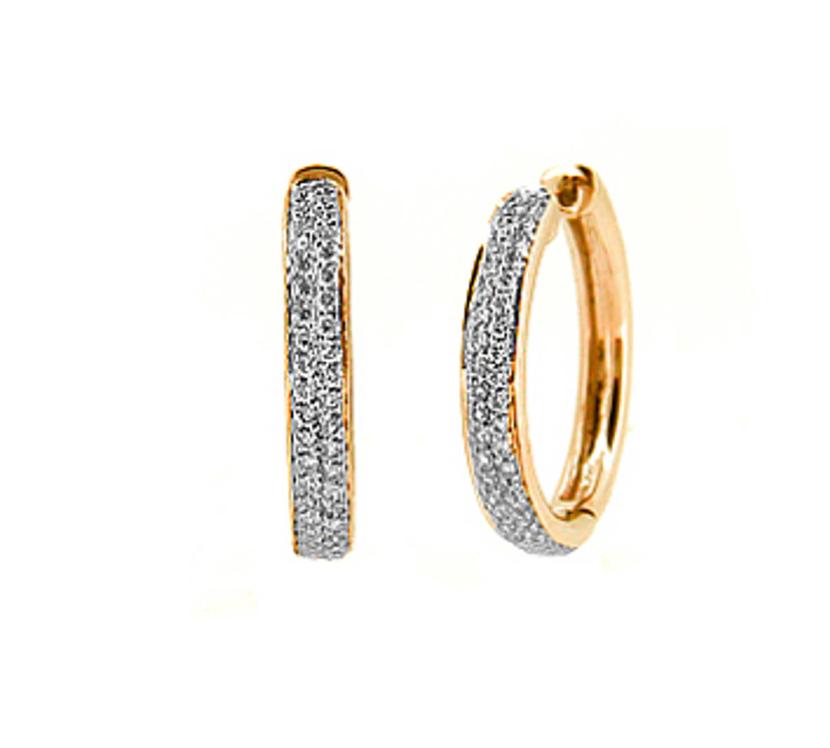 18k red gold brilliant cut diamond hoop earringsDETAILSCarat: total diamond weight 0.32ctsMetal: 18k red gold Made in Ireland