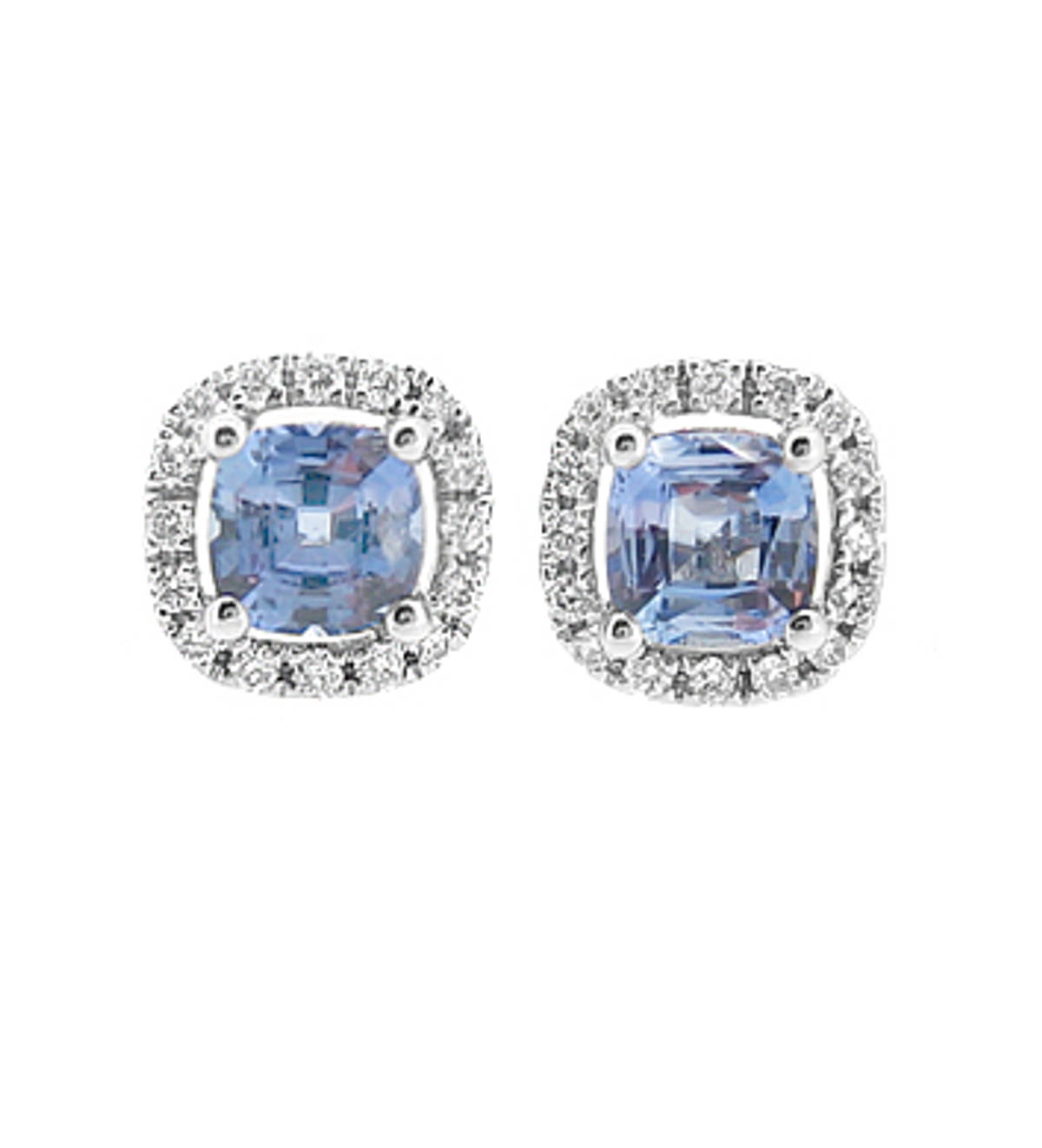 CUSHION SHAPE SAPPHIRE AND BRILLIANT CUT DIAMOND CLUSTER STUD EARRINGSPictured item: sapphire 1.48ct/diamonds 0.24ct set in 18k white gold
