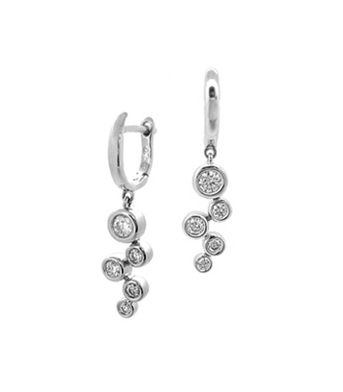 DE2717Diamond rubover set fancy drop earringsPictured item: total 0.38ct brilliant cut diamonds set in 18k white gold