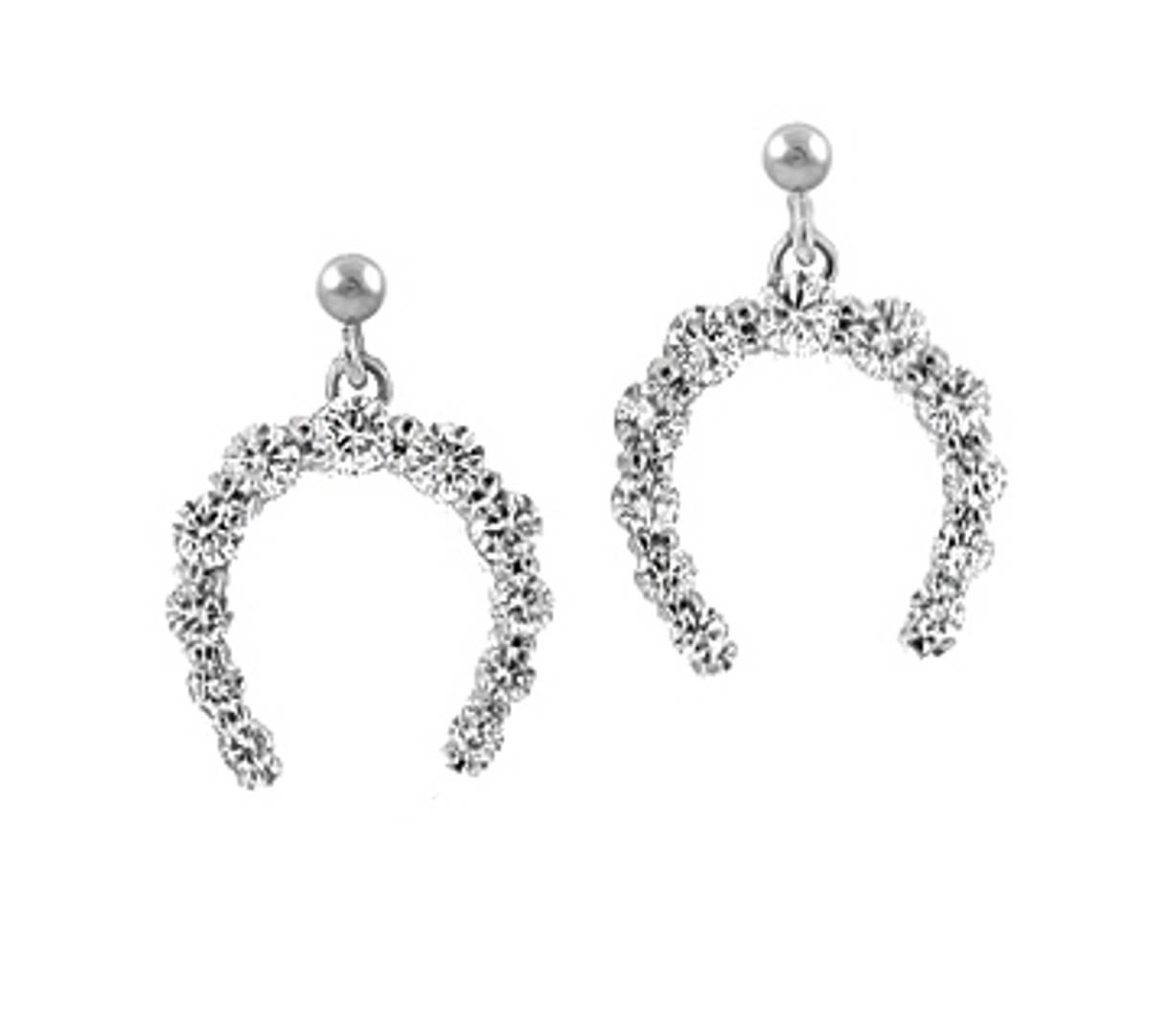 18k white gold brilliant cut diamond horseshoe stud earringsDETAILSCarat: total diamond weight 1.22cts Made in Ireland