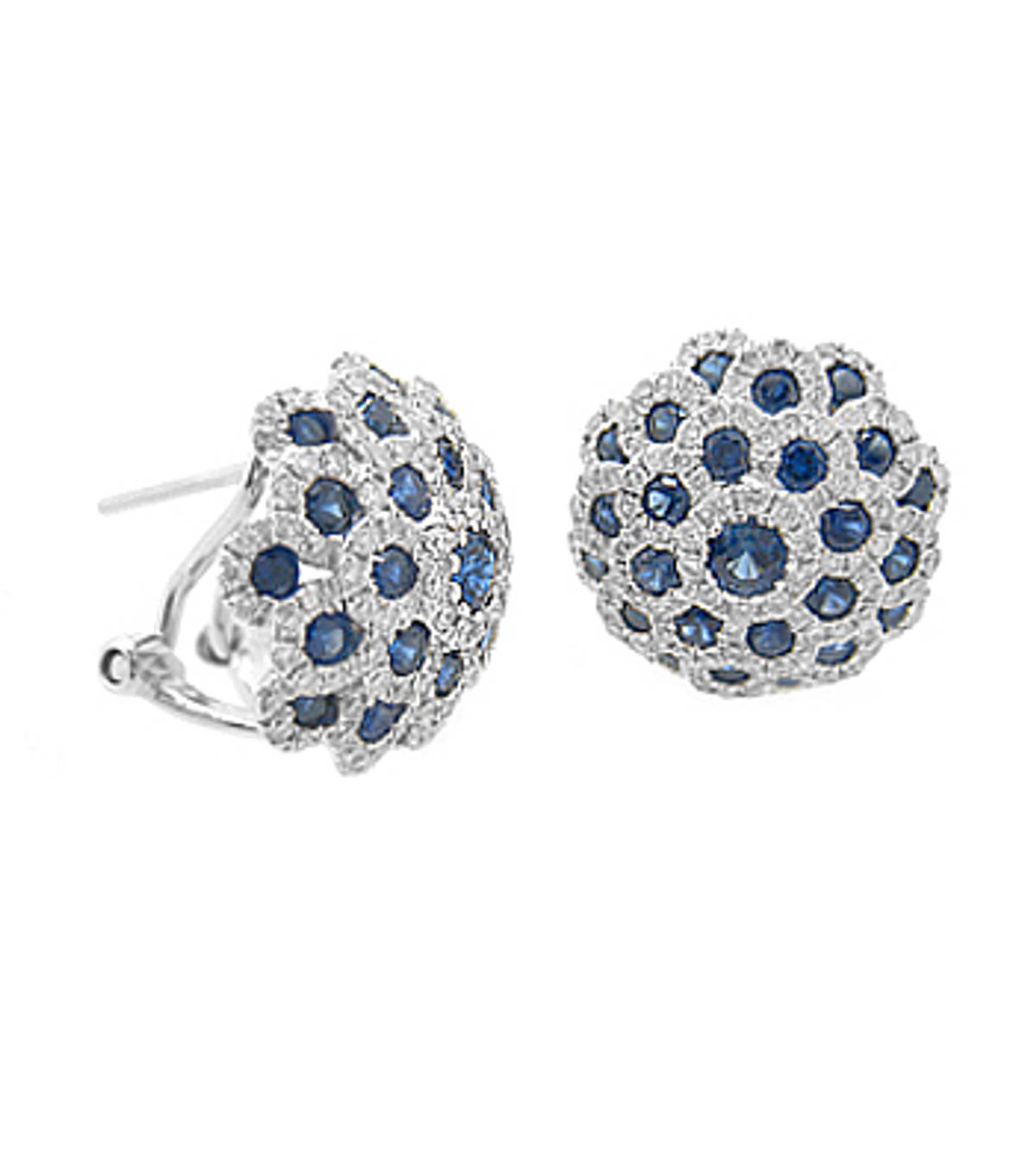 ROUND SAPPHIRE AND DIAMOND CLUSTER STUD EARRINGSPictured item: sapphire 1.72ct/diamonds 1.03ct set in 18k white gold