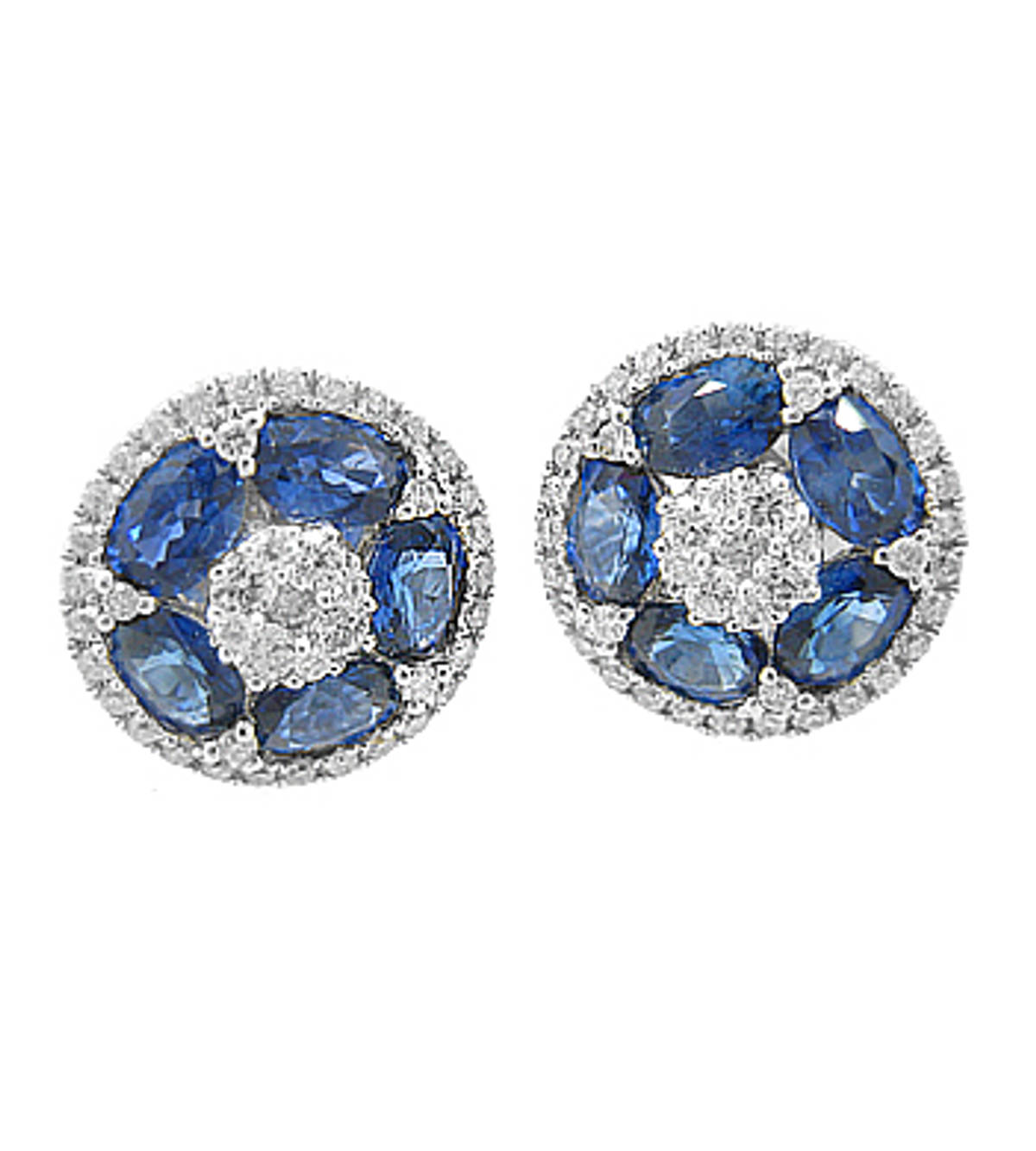 SAPPHIRE AND DIAMOND CLUSTER STUD EARRINGSPictured item: sapphire 1.29ct/diamonds 0.32ct set in 18k white gold