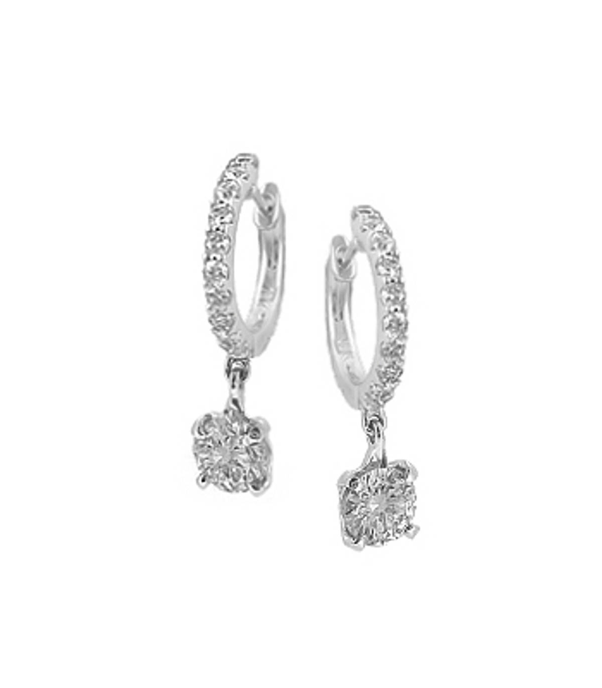 """18k white gold 3 stone brilliant cut diamond hoop earrings. The total diamond weight is 1.20 carats. The diamonds have a """"Brilliant"""" cut. 18ct white gold. Made in Ireland."""