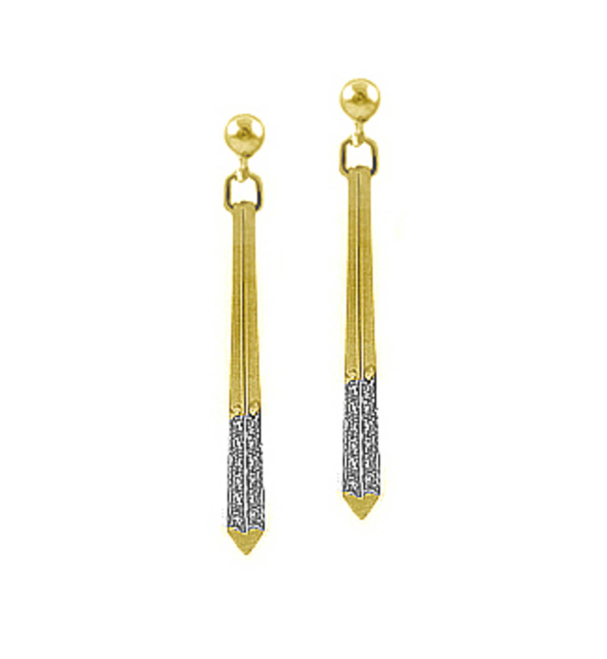 9k yellow gold brilliant cut diamond bar drop earringsDETAILSCarat: diamond total weight 0.24cts