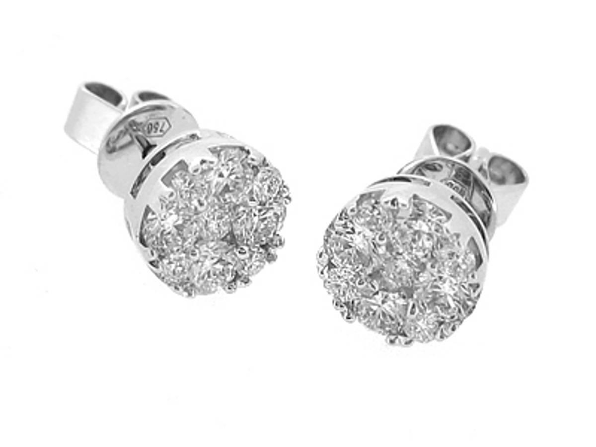 18k white gold brilliant cut diamond cluster stud earringsDETAILStotal diamond weight 0.92cts18k white gold