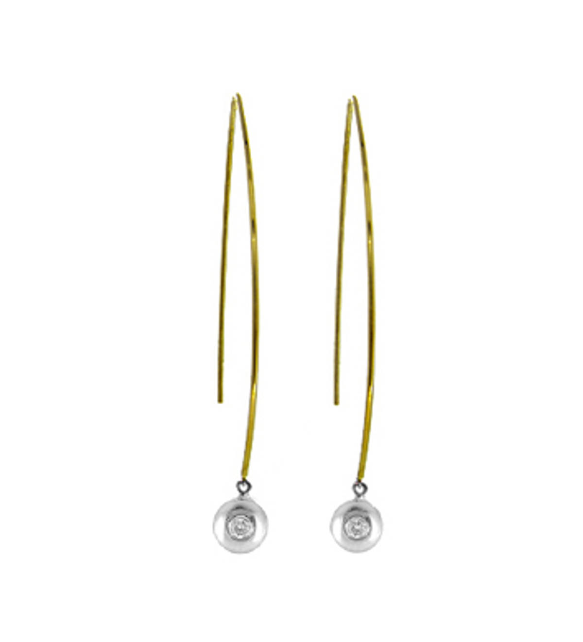 9k yellow and white gold single stone brilliant cut diamond rubover set hoop earringsDETAILSCarat: total diamond weight 0.10cts SIZE & FITThis item's measurements are:Drop  6.3cm