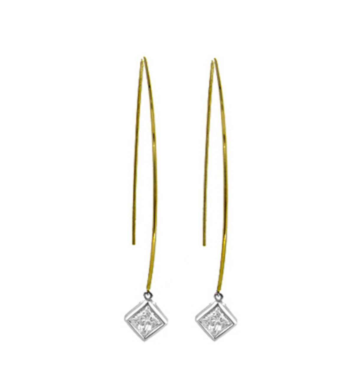 9k yellow and white gold single stone princess cut diamond rubover set hoop earringsDETAILSCarat: total diamond weight 0.32cts SIZE & FITThis item's measurements are:Drop  6.3cm