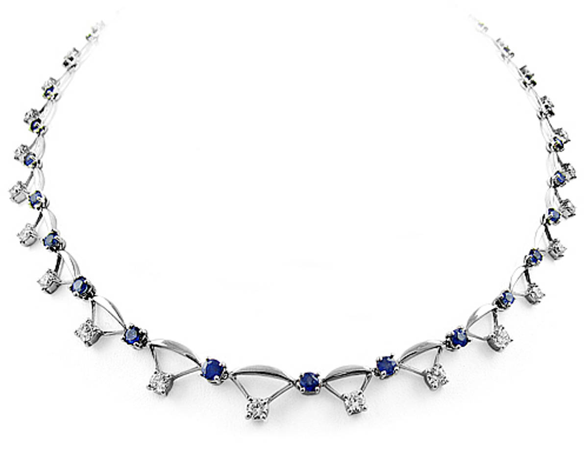 Sapphire and diamond necklacePictured item: diamond 2.88ct/sapphire 4.32ct set in 18k white goldAvailable in: 18k white gold, 18k yellow gold or platinum