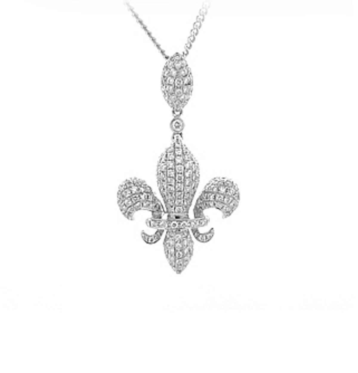 18 carat white gold FLEUR DE LYSE pendant set with 0.82cts diamonds.