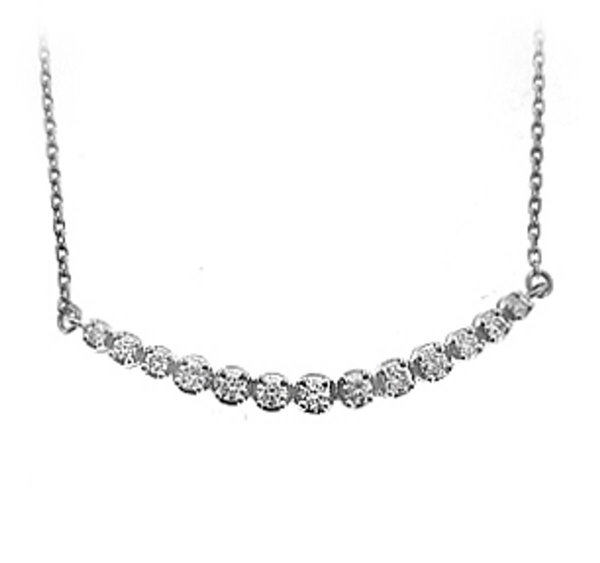 18k white gold brilliant cut diamond necklace DETAILS Carat: total diamond weight 0.60cts  Pendant length 4cm Pendant width 0.8cm Drop 19cm