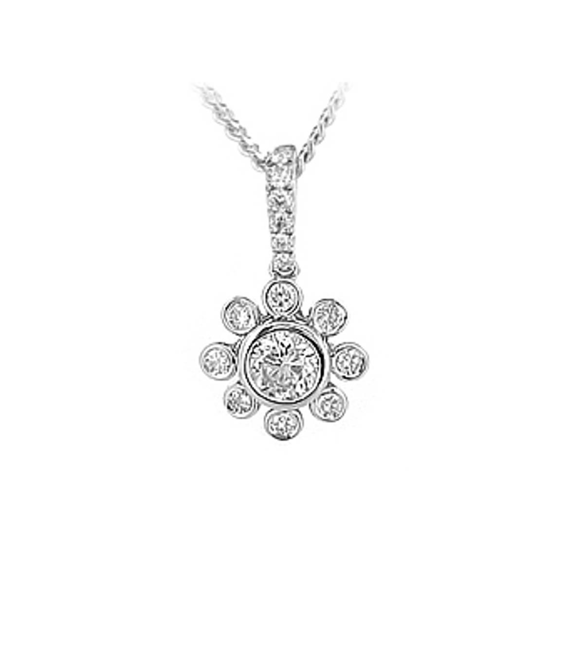 "18k white gold brilliant cut diamond rubover set  pendant on 18k white gold 18"" chain DETAILS Carat: total diamond weight 0.53cts   Pendant length 1.7cmPendant width 1cm"