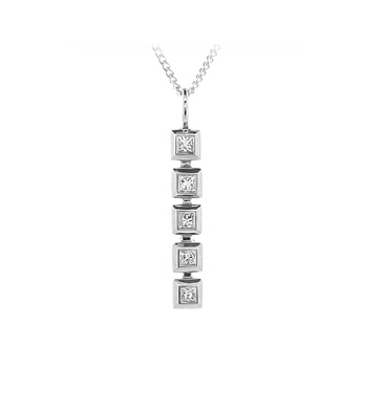 "18k White Gold Princess Cut Diamond RubOver Set Bar Pendant On 18k White Gold 18"" Chain Total Diamond Weight 0.40cts Cut: Princess cut Metal: 18k White Gold"