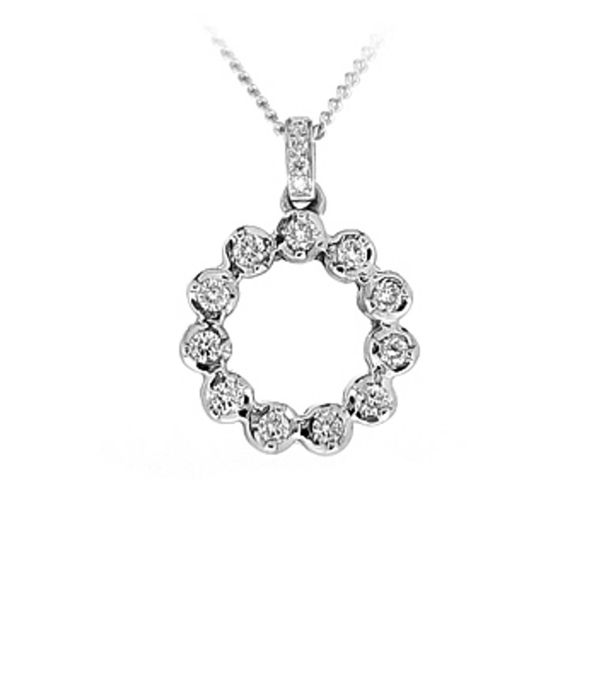 "18k White Gold Brilliant Cut Diamond Circle Pendant On 18k White Gold 18"" Chain Total Diamond Weight 0.44cts Cut: Brilliant cut Metal: 18k White Gold Pendant length 2.2cmPendant width 1.5cm"