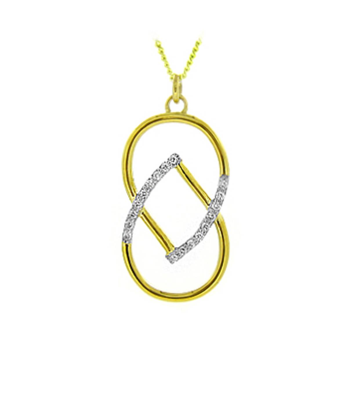 18 carat yellow gold 0.22cts diamonds pendant