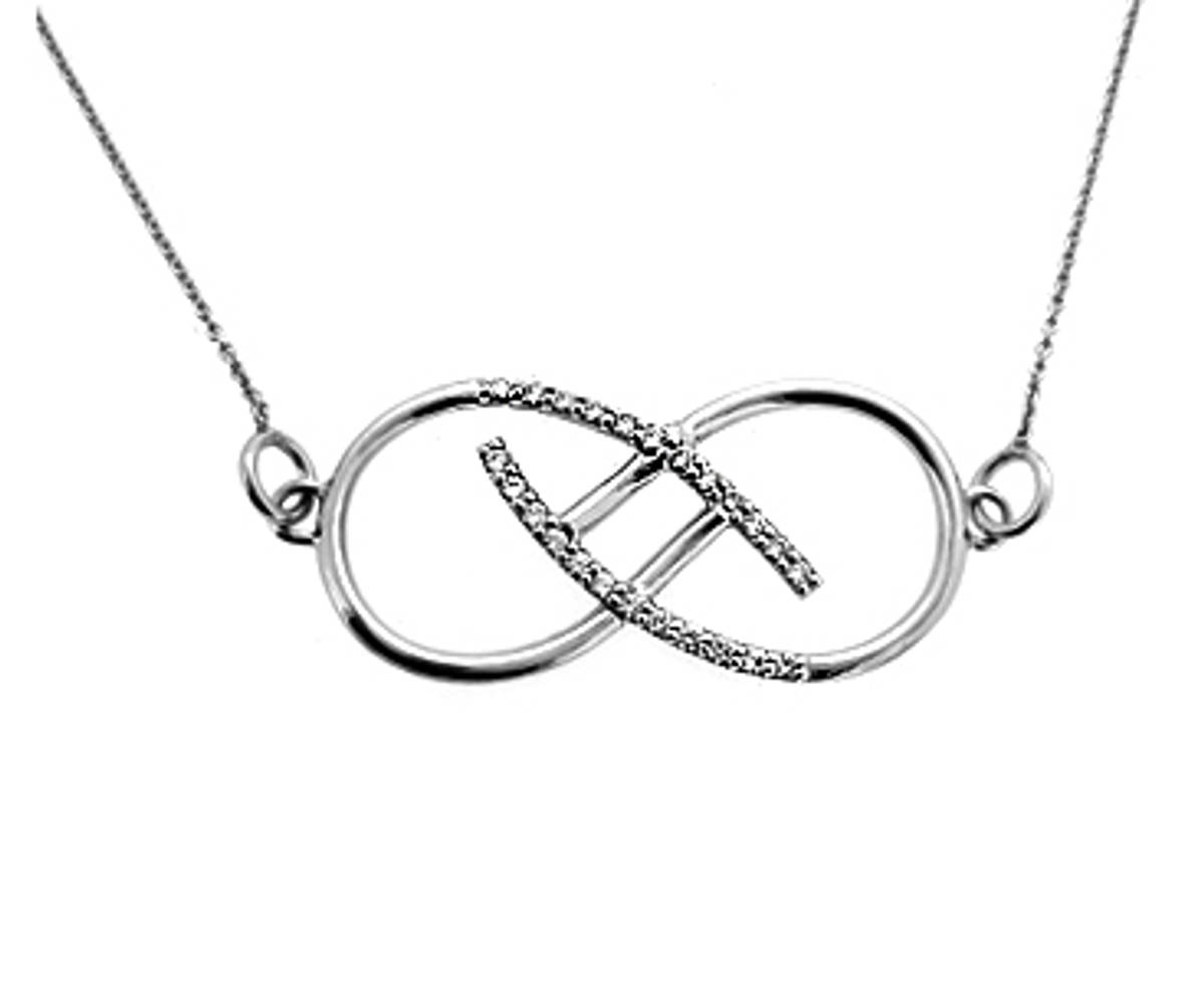 """Necklace with 18 carat white gold 18\"""" chain with 0.30cts diamonds"""