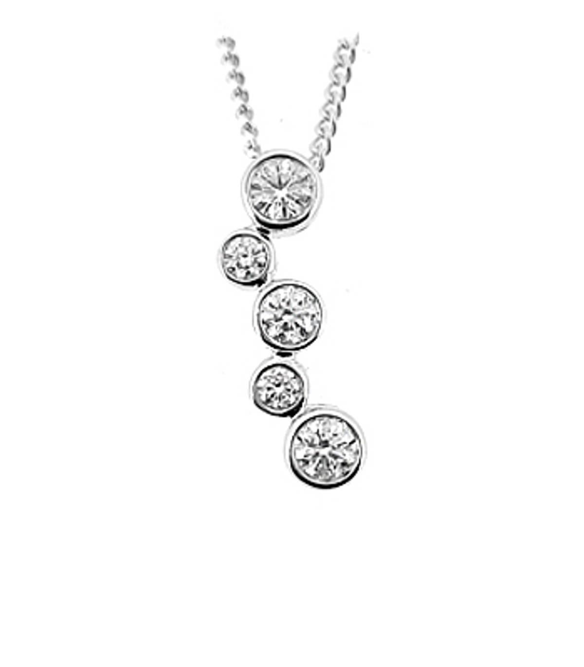 DP38345 stone diamond rubover set drop pendantPictured item: total 0.50ct brilliant cut diamond set in 18k white goldAvailable in: 18k gold