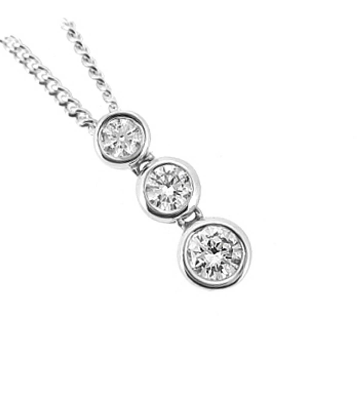 DP38353 stone diamond rubover set drop pendantPictured item: total 0.49ct brilliant cut diamond set in 18k white goldAvailable in: 18k gold