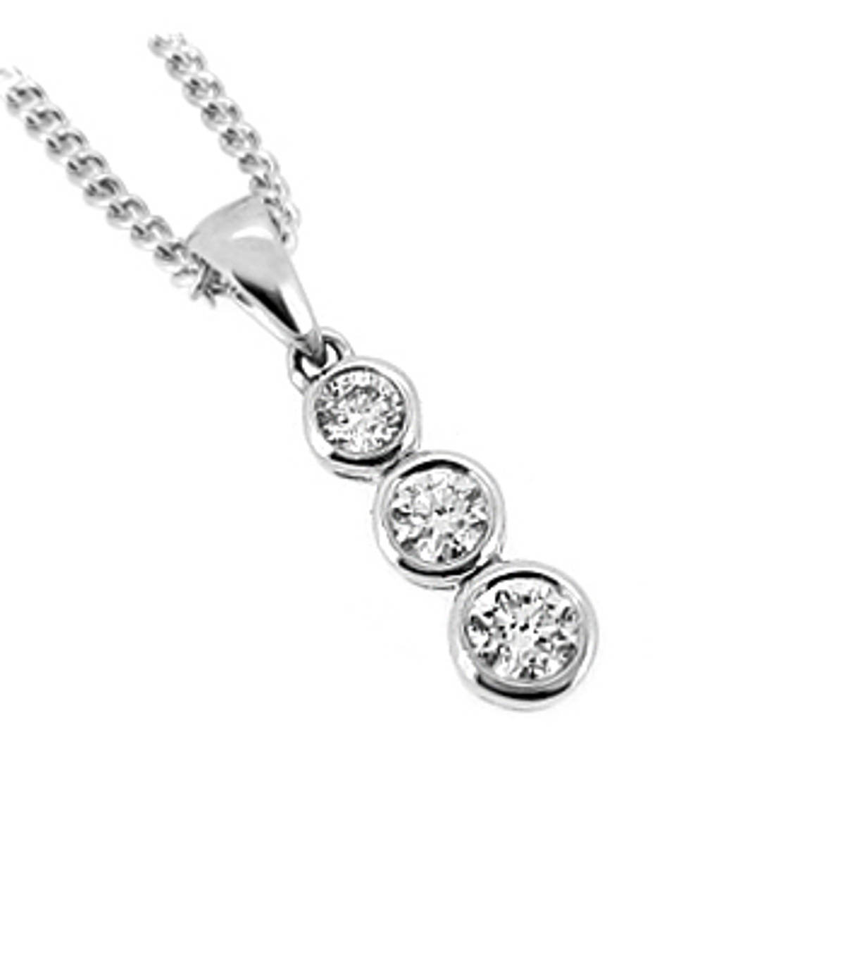 DP38363 stone diamond rubover set drop pendantPictured item: total 0.33ct brilliant cut diamond set in 18k white gold